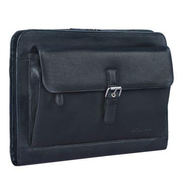 """STILORD """"Emilius"""" Aktenmappe Leder A4 Vintage Konferenzmappe mit Reißverschluss Schreibmappe für 13,3 Zoll Laptop MacBook elegante Konferenzmappe Echtleder Farbe: schwarz"""