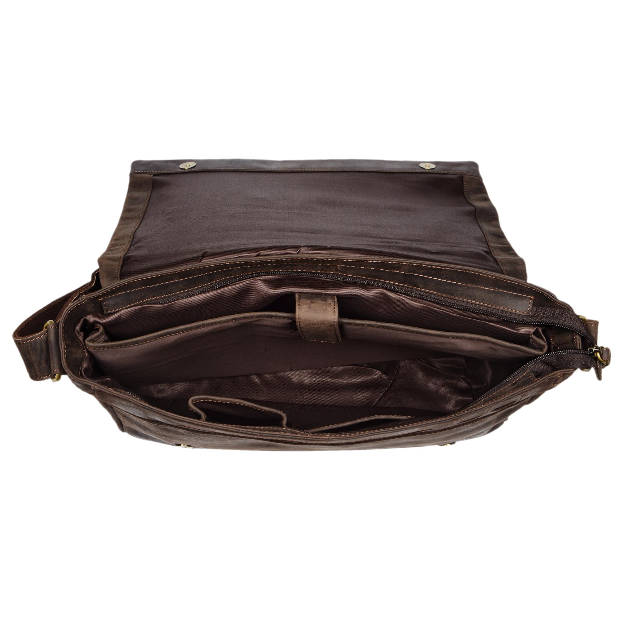"""STILORD """"Patrick"""" Vintage Schultertasche aus echtem Rinds-Leder, mit Laptopfach, Umhängetasche aufsteckbar Unitasche Leder - Bild 9"""