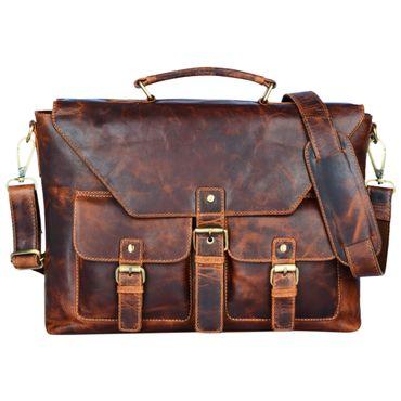 """STILORD """"Janus"""" Herren Umhängetasche Schultertasche Leder Vintage Businesstasche für DIN A4 Dokumente 13,3 Zoll Laptops MacBooks große Handtasche aus echtem Leder"""
