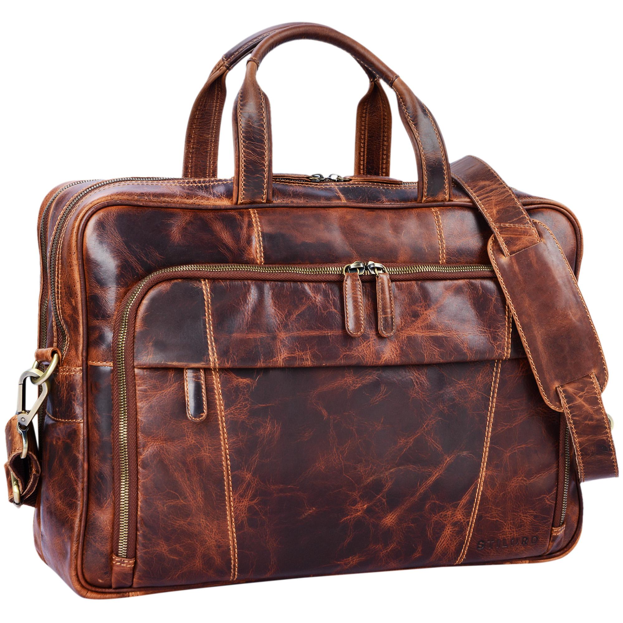 """STILORD """"Jaron"""" Vintage Ledertasche Leder Herren Damen 15,6 Zoll Laptoptasche Umhängetasche groß Aktentasche Arbeit Büro Uni echtes Rindsleder - Bild 9"""