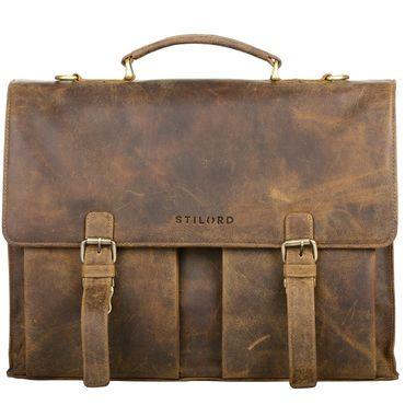"""STILORD """"Constantin"""" Vintage Lehrertasche Aktentasche Herren Damen Bürotasche Hauptfach für 15.6 Zoll Laptop Umhängetasche groß Leder"""