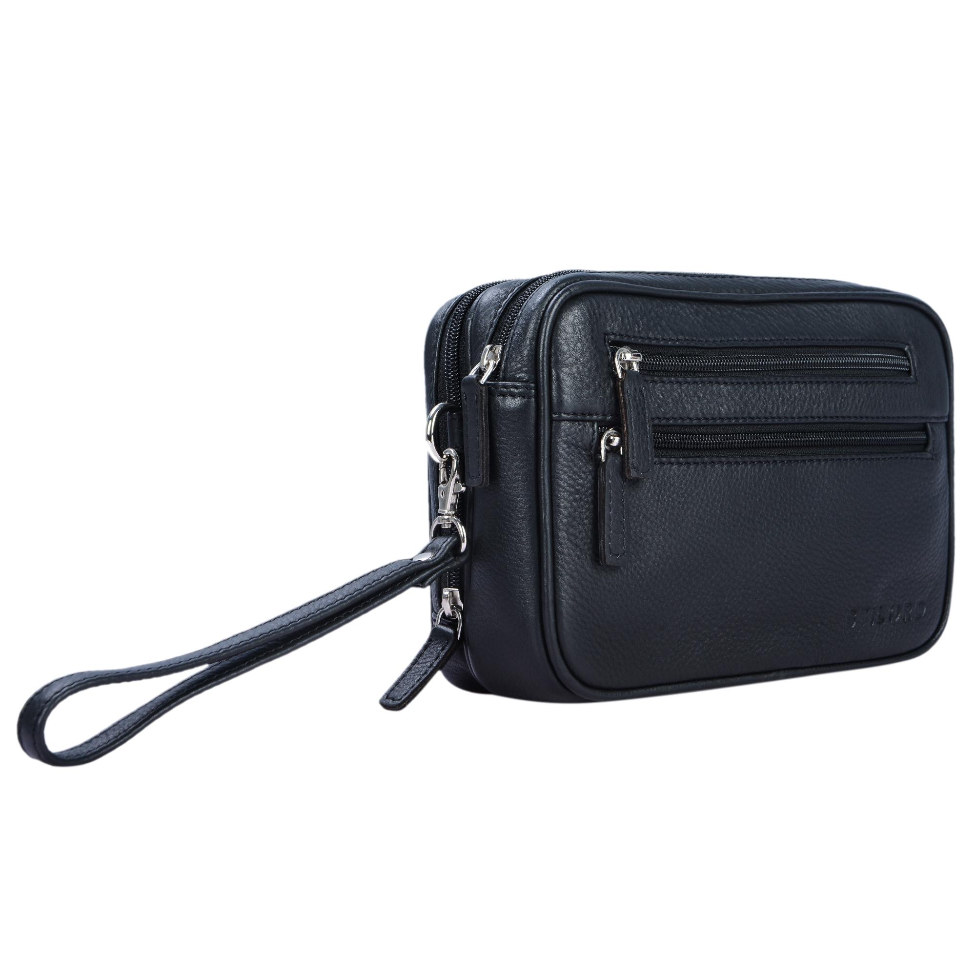 """STILORD """"Nero"""" Handgelenktasche Herren Leder mit Doppelkammer Vintage Handtasche für 8,4 Zoll Tablets ideal für Reisen Festival Herrenhandtasche echtes Leder - Bild 8"""