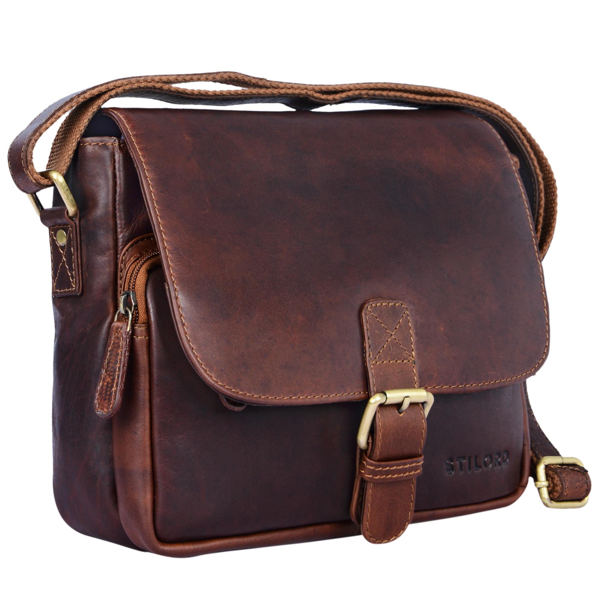 """STILORD """"Lucian"""" Vintage Umhängetasche Leder klein für Herren und Damen braune Schultertasche für 10.1 Zoll Tablet iPad DIN A5 Handtasche aus echtem Leder - Bild 10"""