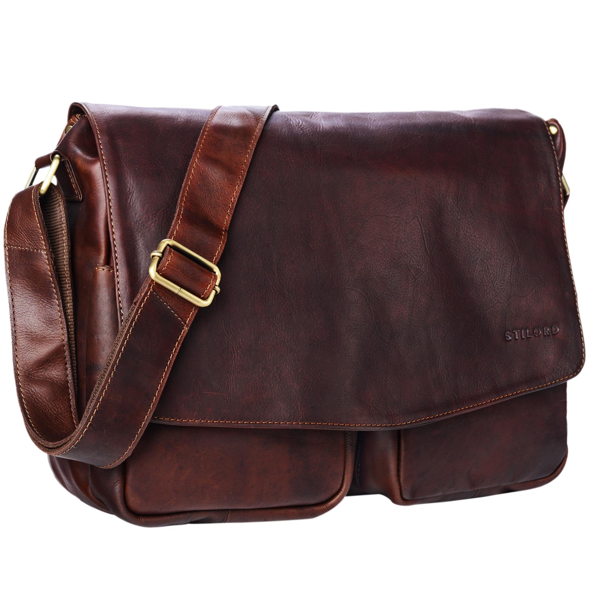 """STILORD """"Leonardo"""" Herren Ledertasche Umhängetasche Vintage große Businesstasche für Büro Arbeit Uni mit 15.6 Zoll Laptopfach aus echtem Büffel Leder - Bild 8"""