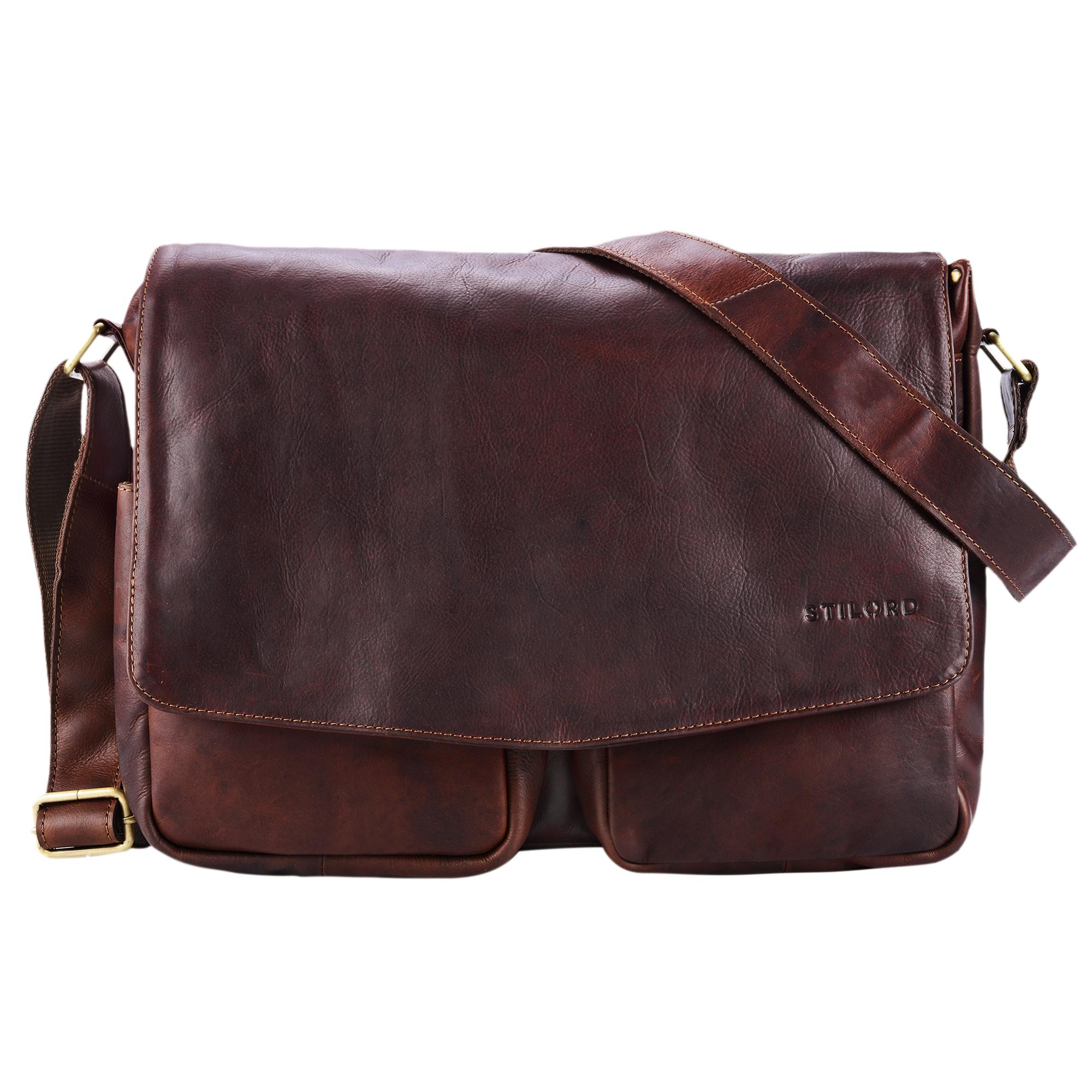 """STILORD """"Leonardo"""" Herren Ledertasche Umhängetasche Vintage große Businesstasche für Büro Arbeit Uni mit 15.6 Zoll Laptopfach aus echtem Büffel Leder - Bild 10"""
