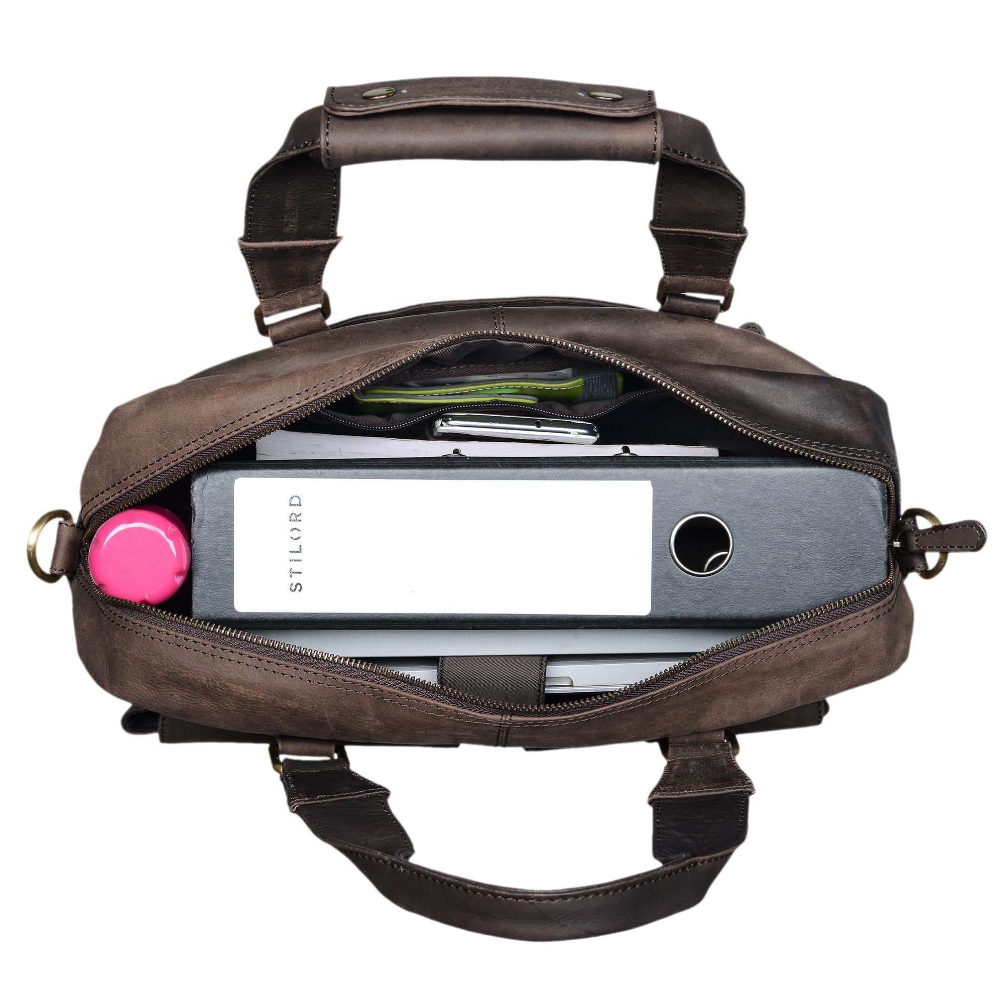 """STILORD """"Vitus"""" Ledertasche Männer Frauen braun tragbar als Vintage Umhängetasche große Handtasche mit 15.6 Zoll Laptopfach ideal als College Bag Bürotasche Aktentasche - Bild 19"""