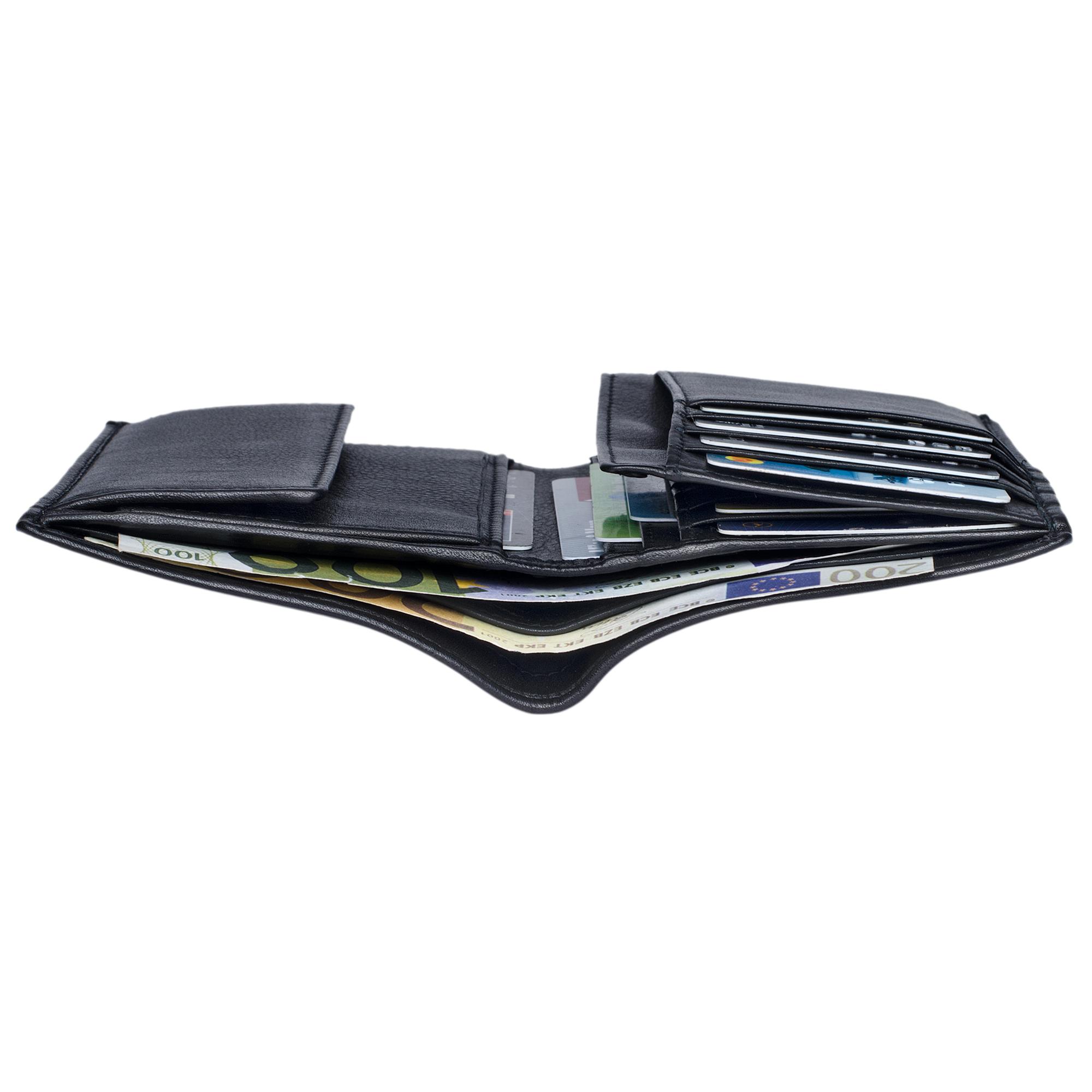 Schwarze Brieftasche für Männer Leder