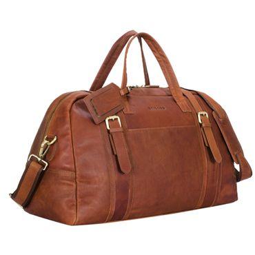 """STILORD """"Georgia"""" Große Reisetasche Vintage Leder mit Tragegriff und Schultergurt Reisegepäck Handgepäck in Kabinengröße aus echtem Büffel Leder Farbe: cognac - braun"""