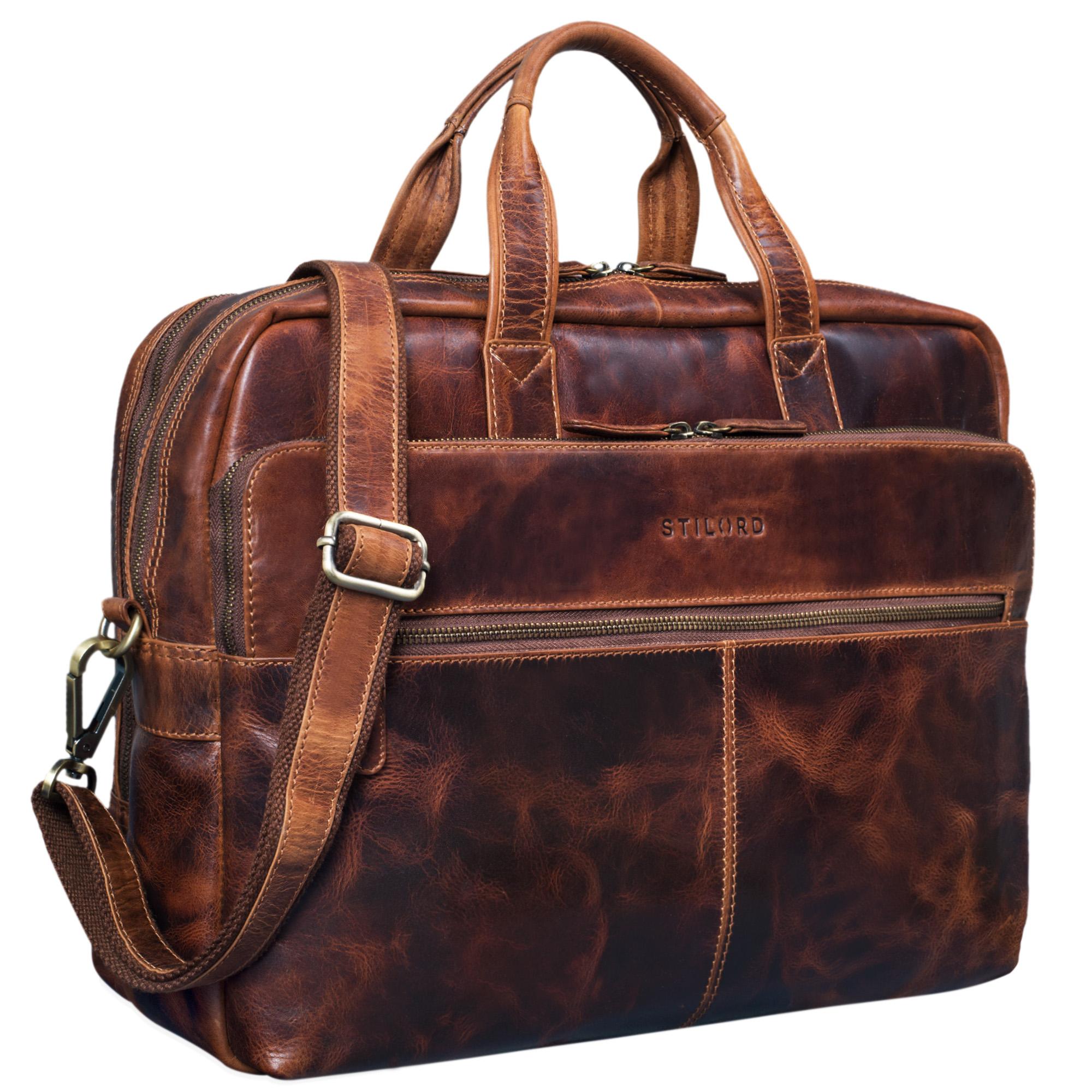 stilord william businesstasche leder gro xl lehrertasche aktentasche 15 6 zoll laptoptasche. Black Bedroom Furniture Sets. Home Design Ideas