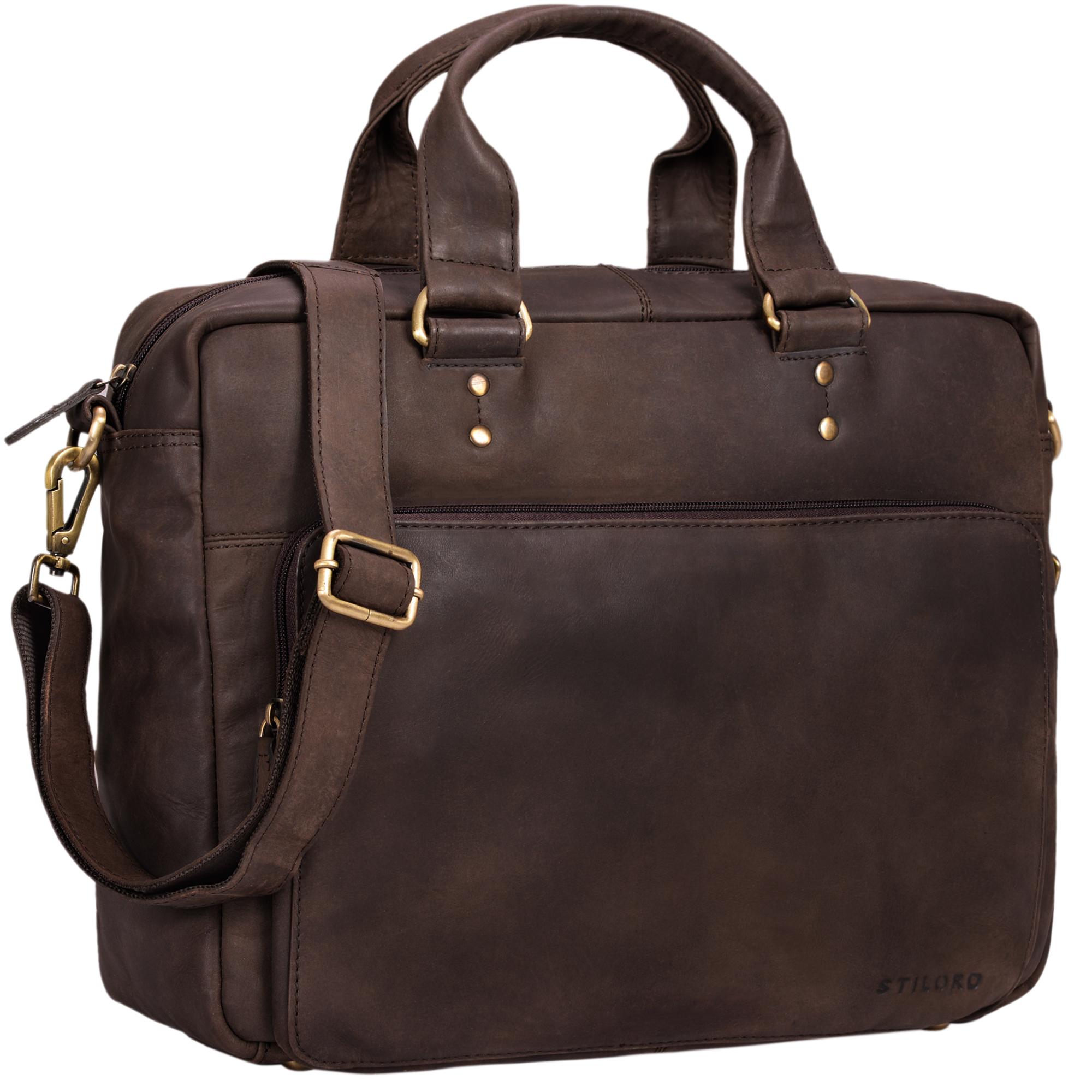"""STILORD """"Jack"""" Ledertasche Aktentasche Herren Vintage Umhängetasche für Büro Business Arbeit 13,3 Zoll Laptoptasche für große DIN A4 Aktenordner echtes Leder - Bild 14"""
