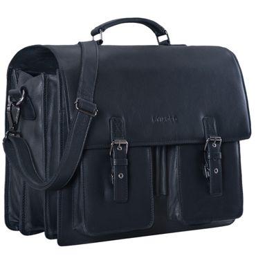 """STILORD """"Anton"""" Aktentasche Leder XL Vintage Lehrertasche mit Laptopfach 15,6 Zoll große Ledertasche zum Umhängen Trolley aufsteckbar Farbe: schwarz"""