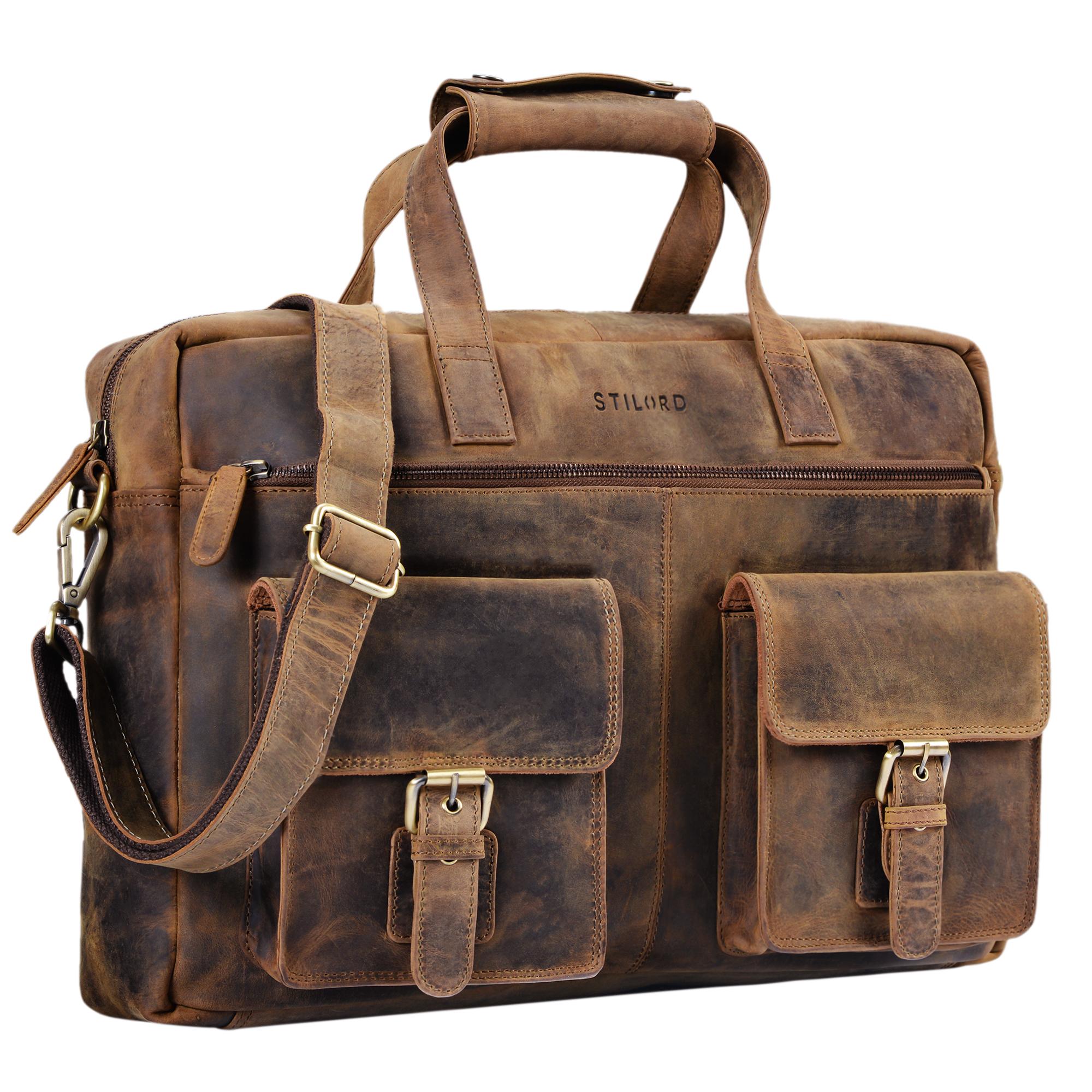 """STILORD """"Ron"""" Vintage Ledertasche 15.6 Zoll Laptopfach große Umhängetasche Herren für Büro Arbeit Uni moderne Aktentasche aus echtem Rinds-Leder - Bild 8"""