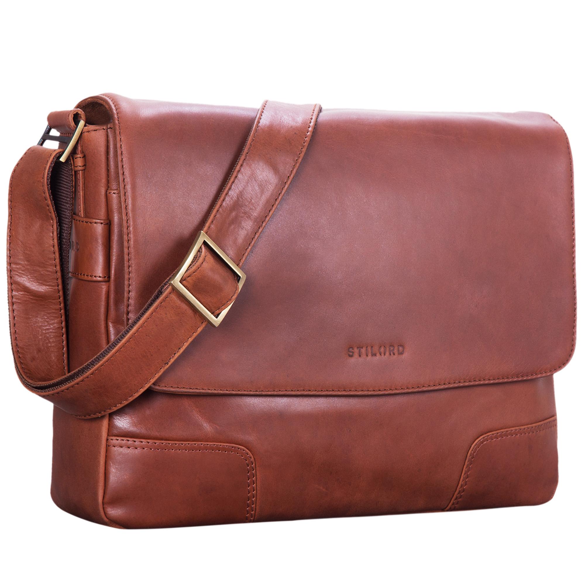 """STILORD """"Miro"""" Messenger Bag Leder Umhängetasche 14 Zoll Vintage Design für Herren Damen Uni Büro Arbeit Aktentasche DIN A4 Laptoptasche Echtleder - Bild 10"""