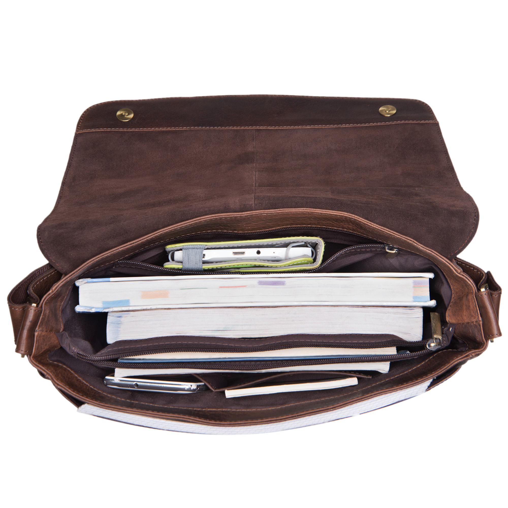 """STILORD """"Miro"""" Messenger Bag Leder Umhängetasche 14 Zoll Vintage Design für Herren Damen Uni Büro Arbeit Aktentasche DIN A4 Laptoptasche Echtleder - Bild 5"""