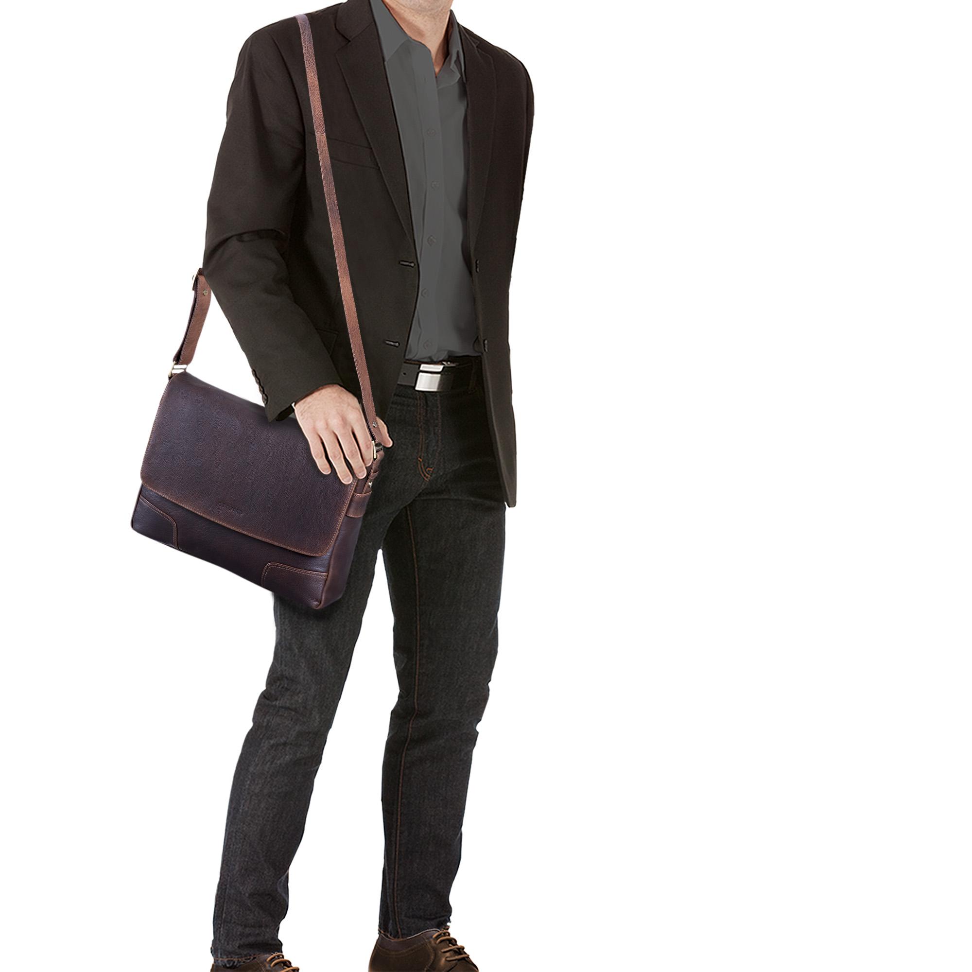 """STILORD """"Miro"""" Messenger Bag Leder Umhängetasche 14 Zoll Vintage Design für Herren Damen Uni Büro Arbeit Aktentasche DIN A4 Laptoptasche Echtleder - Bild 2"""