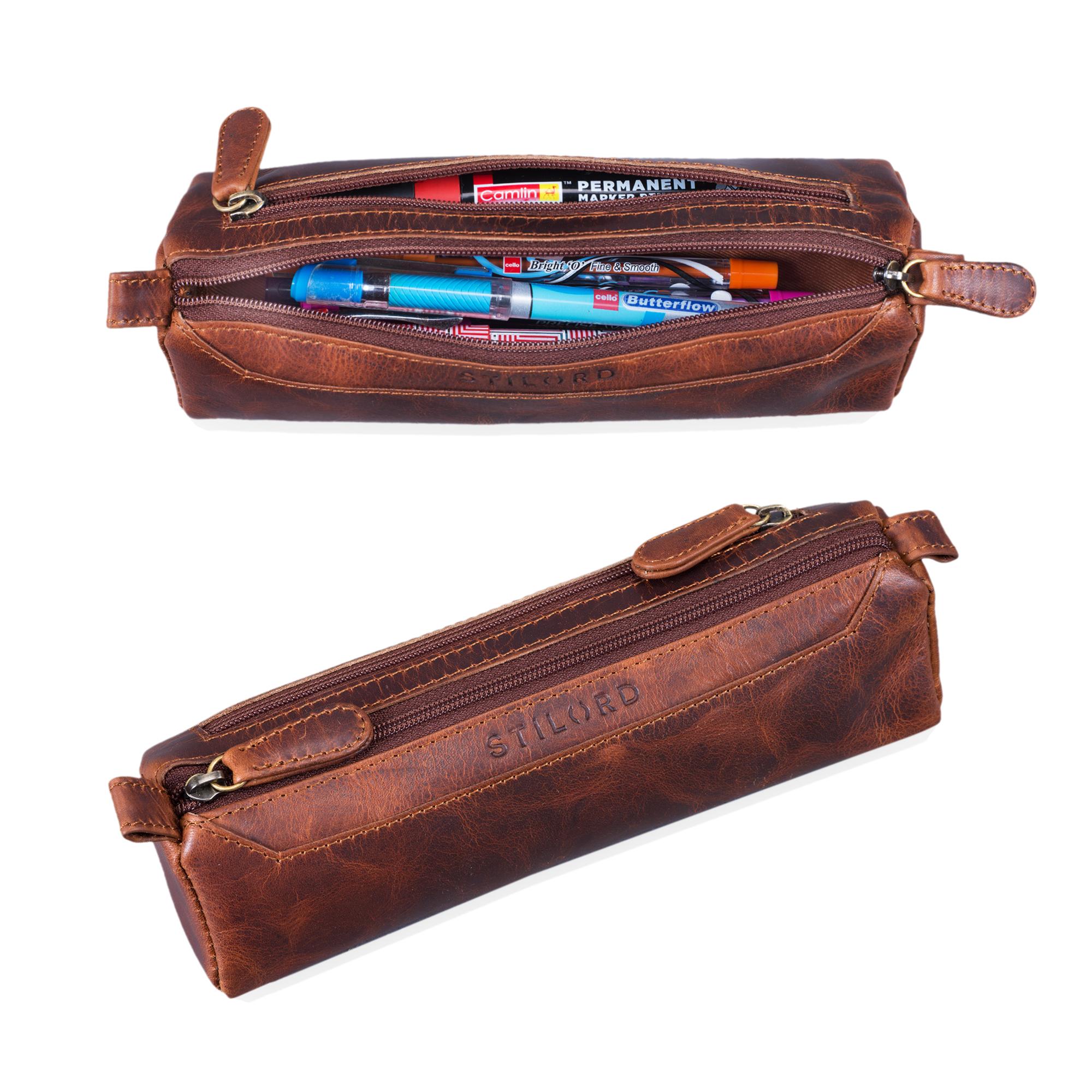 """STILORD """"Jim"""" Federmappe Leder Vintage Stifte Euti 2 Fach rundes Federmäppchen groß Stiftemappe für Damen und Herren Faulenzer aus echtem Leder - Bild 8"""