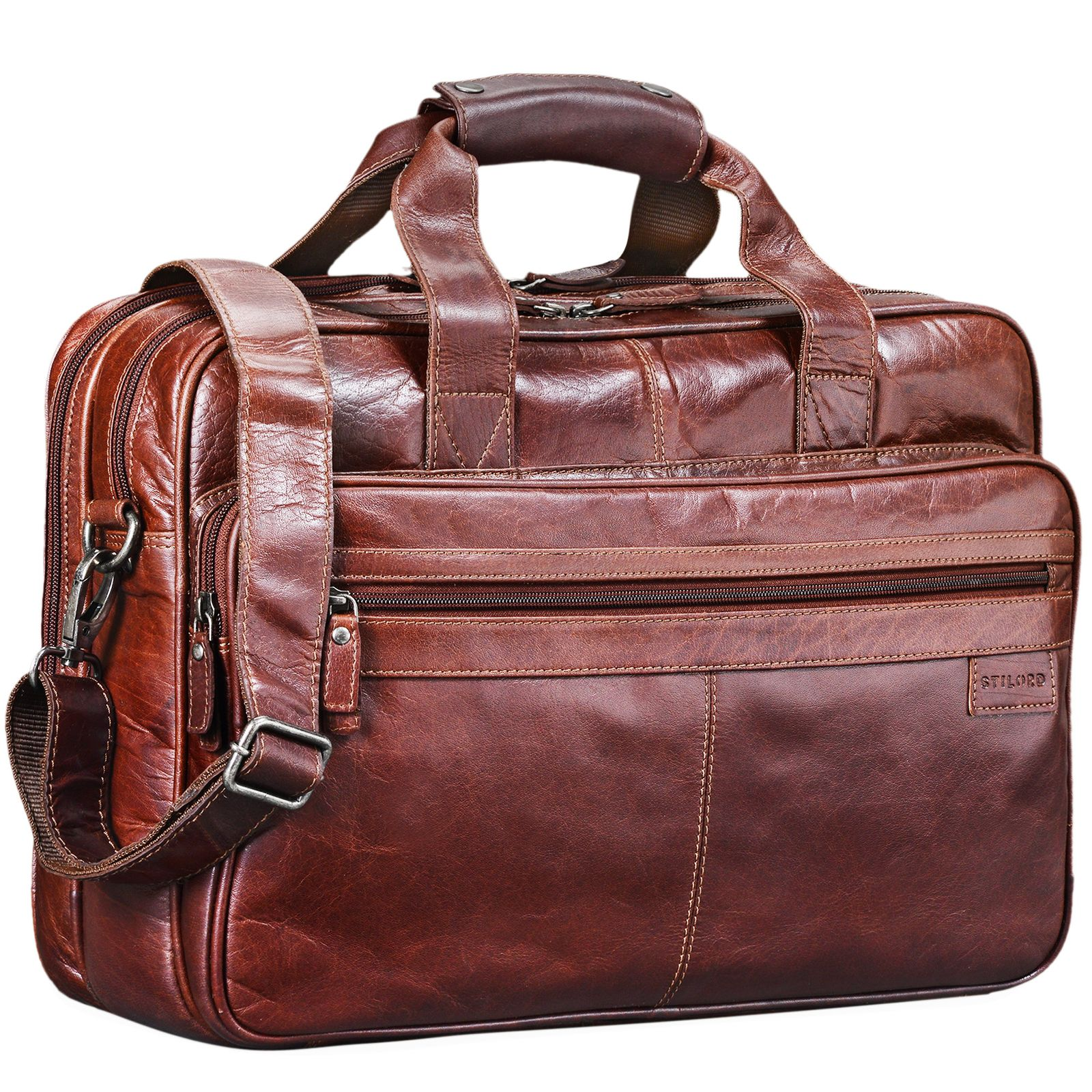 """STILORD """"Atlantis"""" Leder Aktentasche groß Vintage Lehrertasche Arbeitstasche große Ledertasche Businesstasche zum Umhängen Trolley aufsteckbar - Bild 8"""