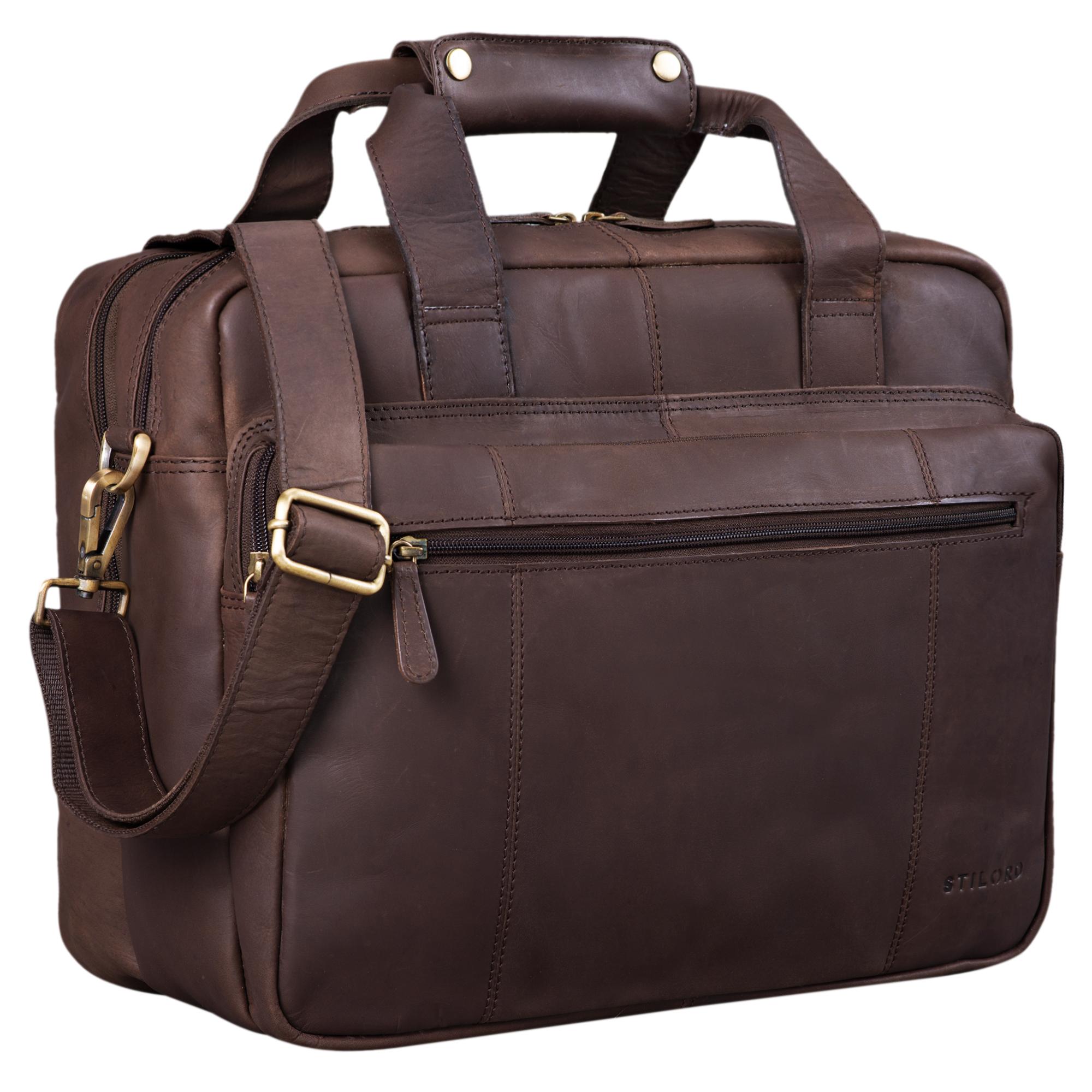 """STILORD """"Experience"""" Vintage Lehrertasche Leder groß für Herren Damen XL Aktentasche Business Schulter- oder Umhängetasche für Laptop Trolley aufsteckbar - Bild 8"""