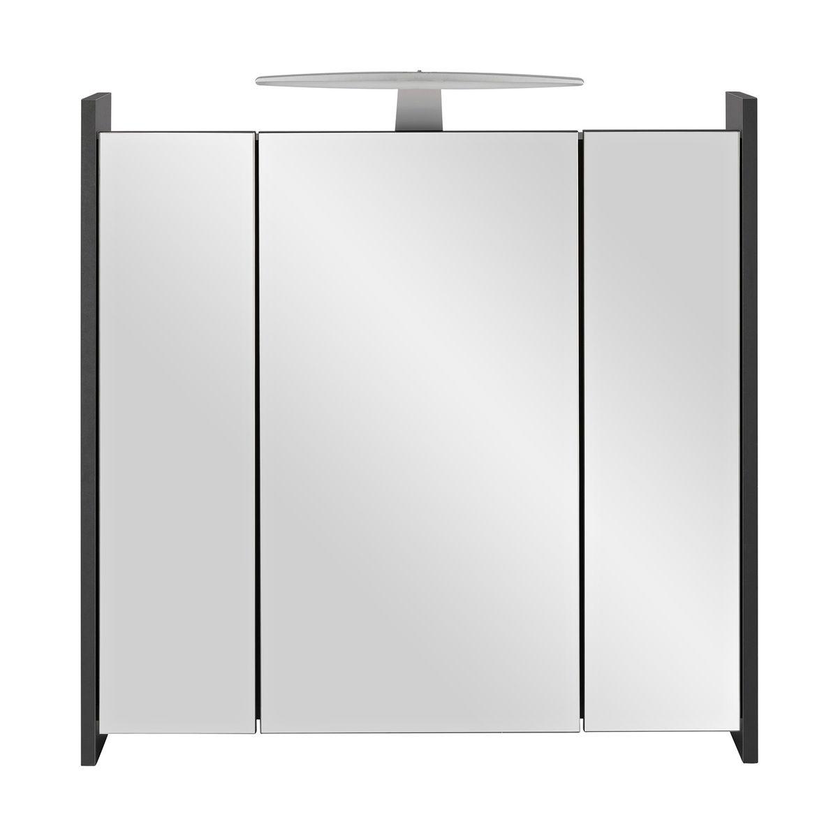 Badmöbel-Set ELEGANCE 2-teilig mit Beleuchtung Anthrazit Weiß Hochglanz – Bild 2