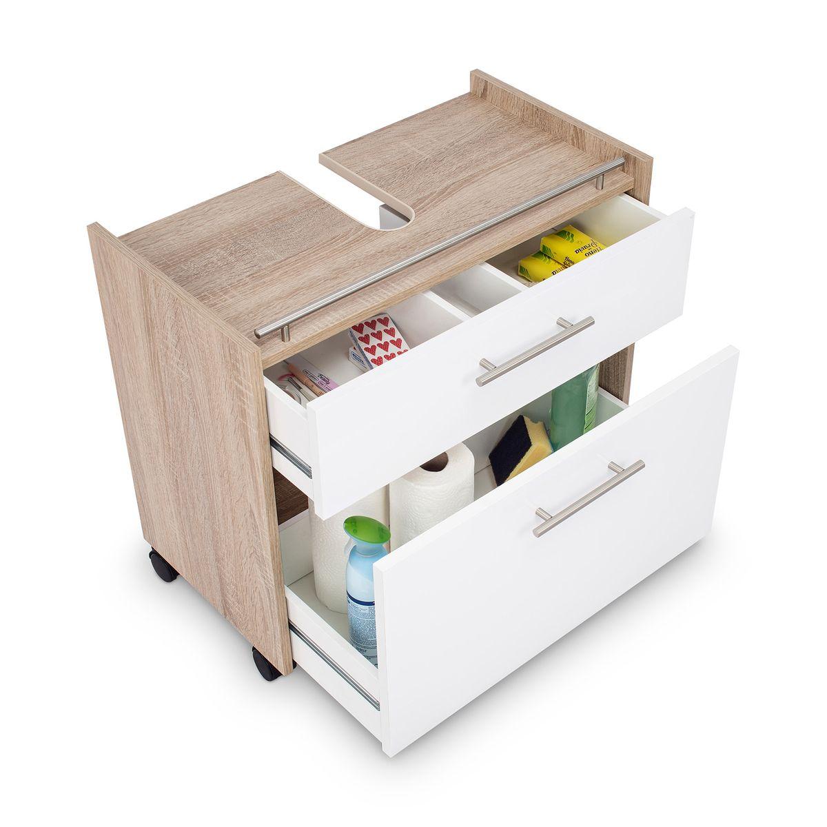 Galdem Waschbeckenunterschrank ELEGANCE mit 2 Schubkästen Sonoma OAK Weiß – Bild 2