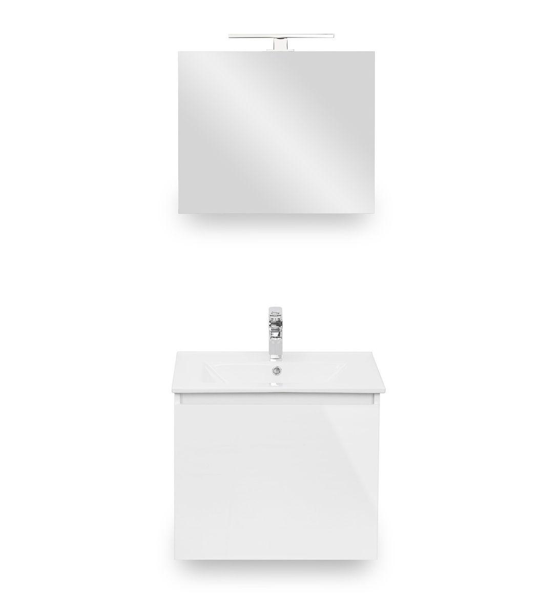 Galdem Bad-Set CUBE 60cm Weiß Hochglanz – Bild 2
