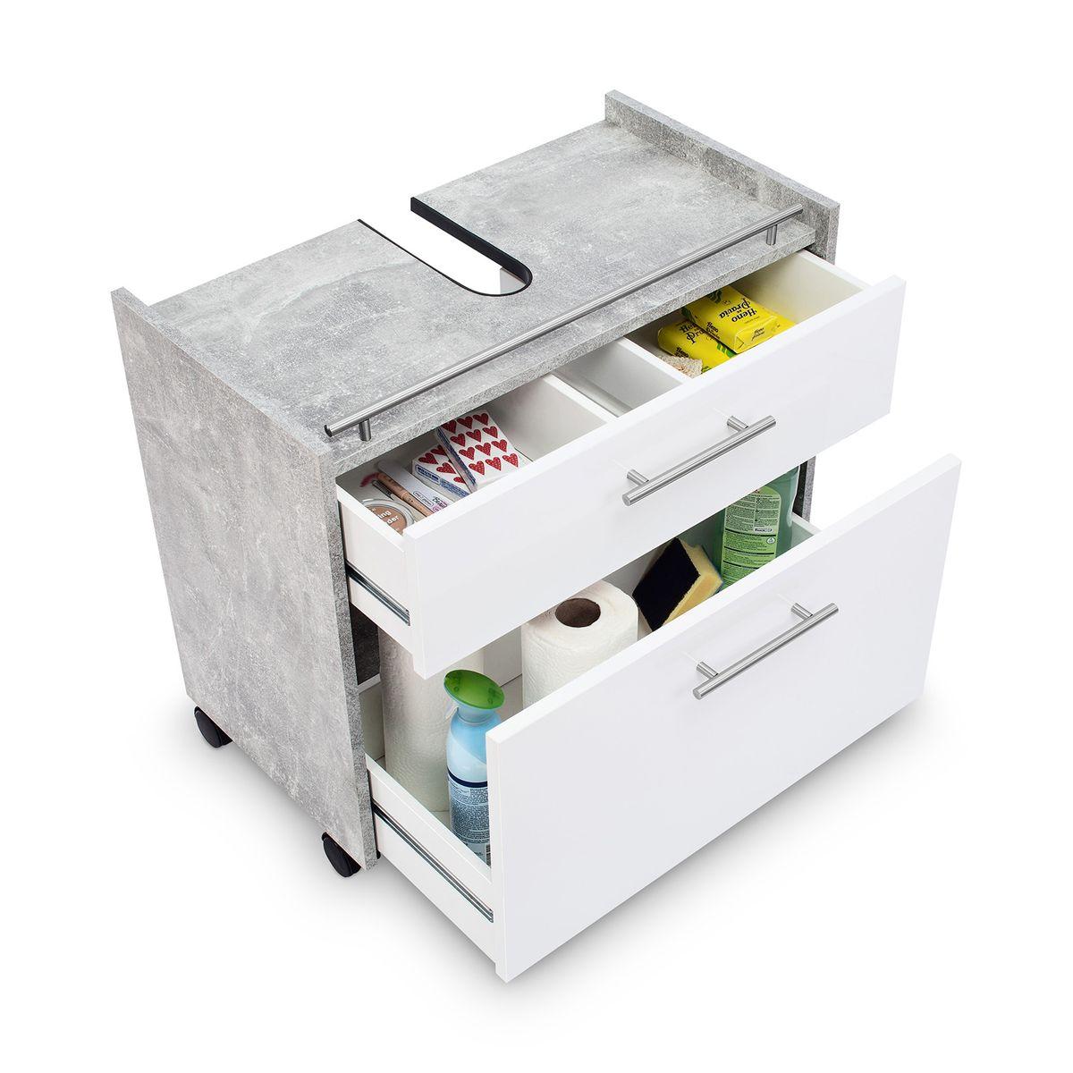 Galdem Waschbeckenunterschrank ELEGANCE mit 2 Schubkästen Beton Weiß – Bild 2