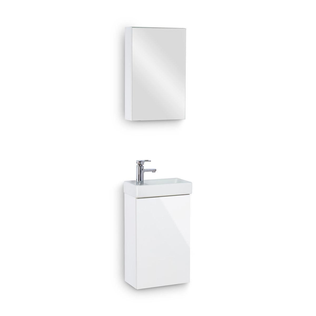 Galdem Bad-Set CUBE Weiß Hochglanz mit Spiegelschrank – Bild 2