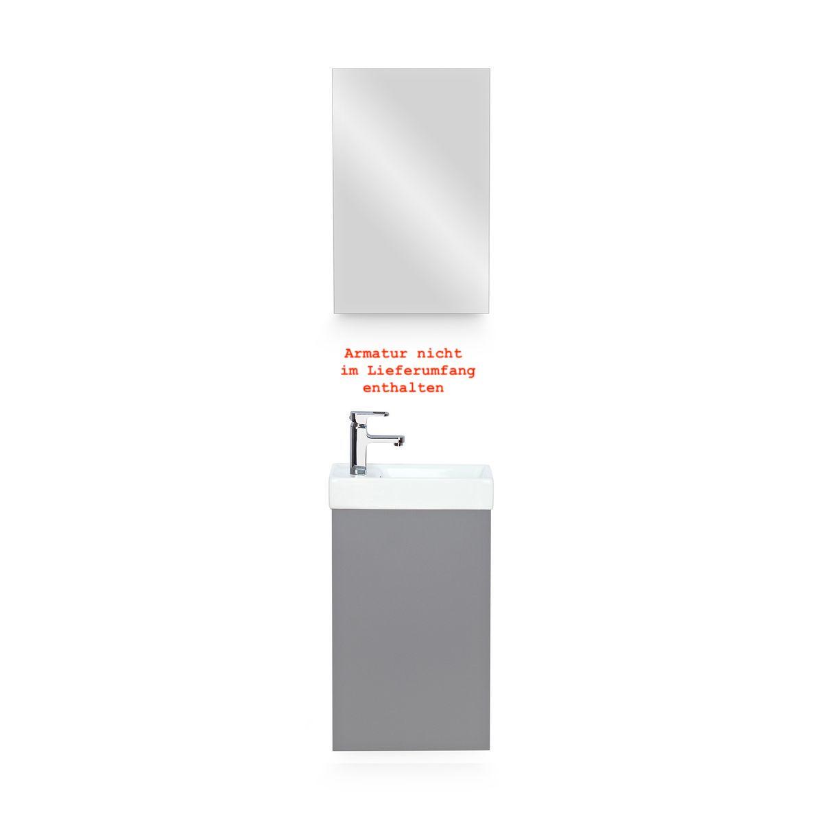 Galdem Bad-Set CUBE Graphite mit Spiegelschrank – Bild 1