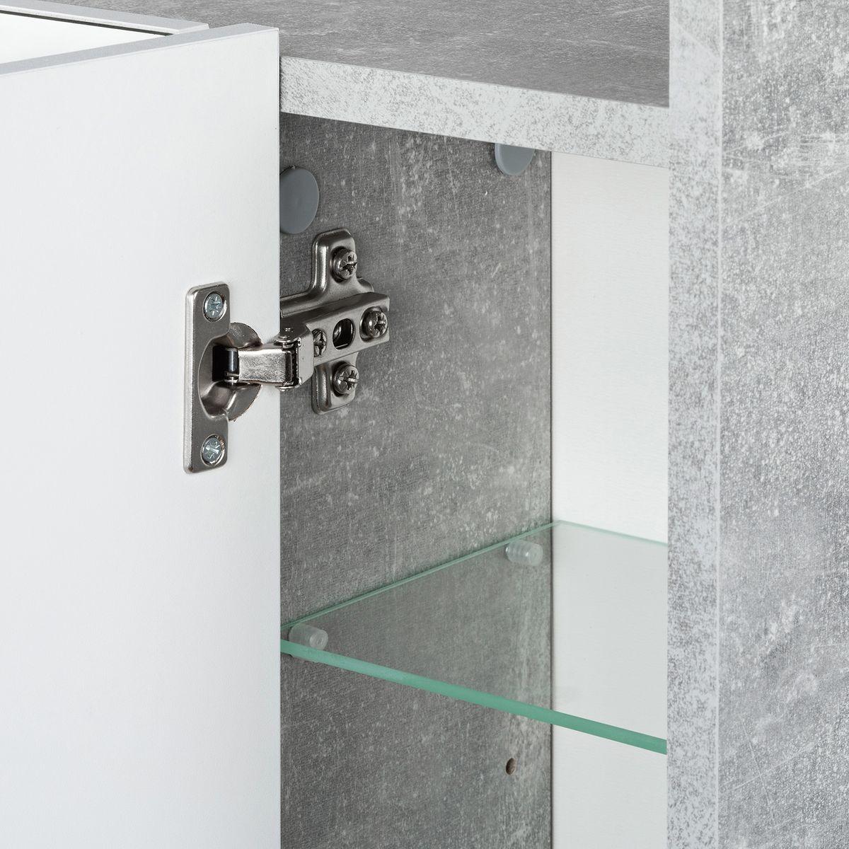 Badmöbel-Set ELEGANCE 2-teilig mit Beleuchtung Beton Weiß – Bild 4