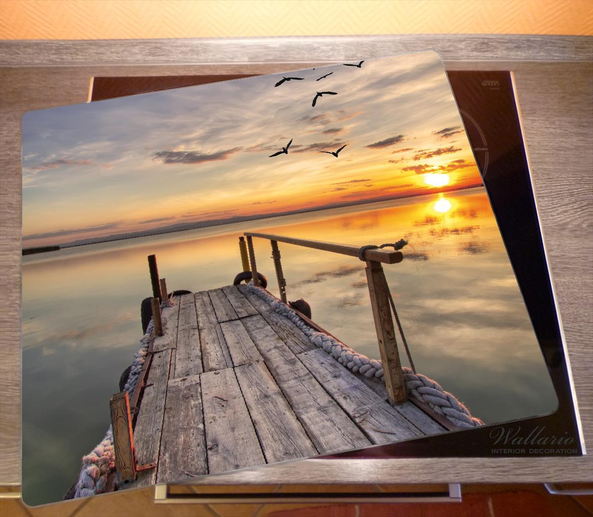 Herdabdeckplatte Sonnenuntergang über dem See  idyllischer Steg