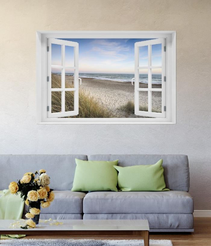 Selbstklebendes Poster Strandspaziergang im Urlaub an der Ostsee 100 x 150 cm mit Fensterrahmen