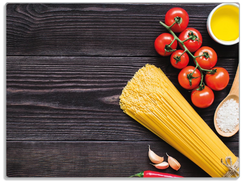 Glasunterlage Italienisches Menü mit Spaghetti, Tomaten, Salz und Chilischoten – Bild 1