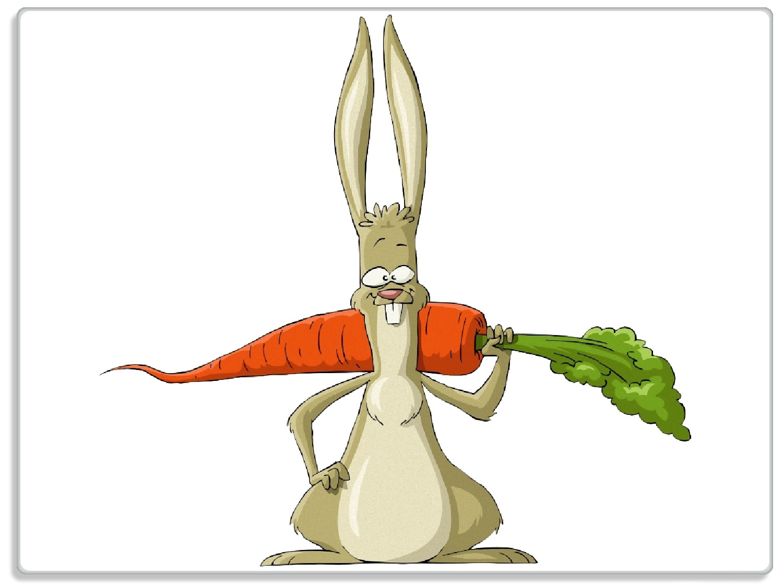 Glasunterlage Lustiger Hase mit Möhre im Comic Stil – Bild 1
