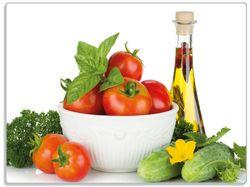 Glasunterlage Frische Salatzutaten mit Kräuter-Öl - Tomaten, Gurke, Petersilie – Bild 1