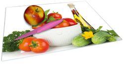 Glasunterlage Frische Salatzutaten mit Kräuter-Öl - Tomaten, Gurke, Petersilie – Bild 2
