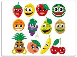 Glasunterlage Obst-Smilies im Comic-Stil - Lustige Erdbeeren, Bananen, Kirschen etc. – Bild 1