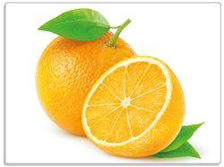 Glasunterlage Saftige Orangen vor weißem Hintergrund – Bild 1