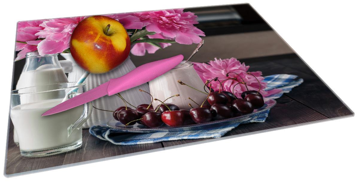 Glasunterlage Milch mit Kirschen zum Frühstück mit rosa Blumenarrangement – Bild 2