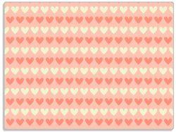 Glasunterlage Muster Herzen in beige und rot  – Bild 1