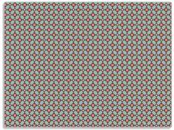 Glasunterlage Muster mit Kreuzen, Kreisen und Vierecken, in rot, braun und grün – Bild 1