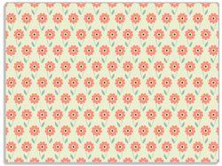 Glasunterlage Muster mit roten Blumen und grünen Blättern – Bild 1