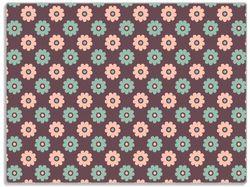 Glasunterlage Muster mit grünen und rosa-farbenen Blüten – Bild 1