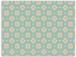 Glasunterlage Muster in rot weiß auf grün - Blütenblätter – Bild 1