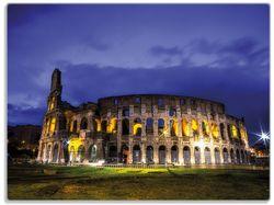 Glasunterlage Italien bei Nacht - Kollosseum in Rom, beleuchtet am Abend – Bild 1