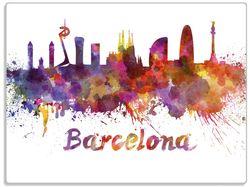 Glasunterlage Städte als Aquarell - Skyline von Barcelona – Bild 1