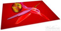 Glasunterlage Rauchende Chili-Schoten im Duo vor rotem Hintergrund – Bild 2