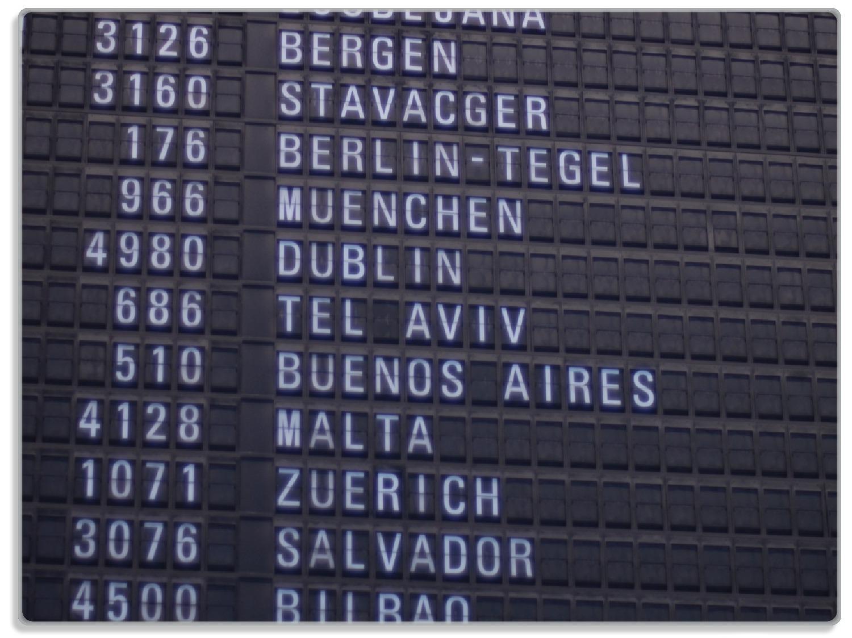 Glasunterlage Flughafen Abflugtafel – Bild 1