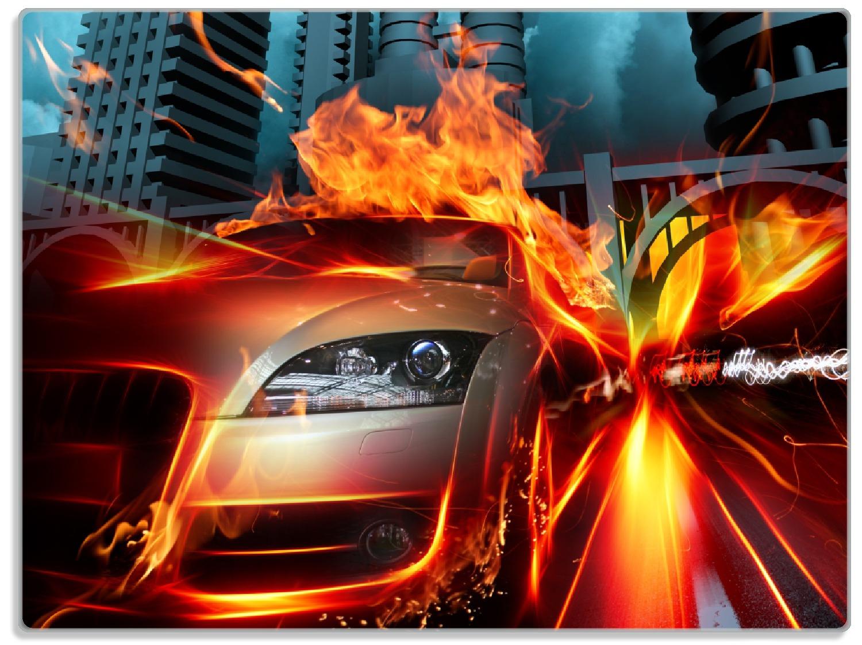 Glasunterlage Brennendes  fahrendes Auto – Bild 1