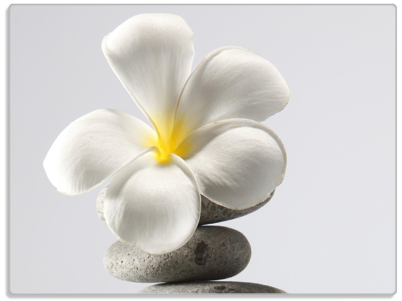 Glasunterlage Blume auf gestapelten Steinen – Bild 1