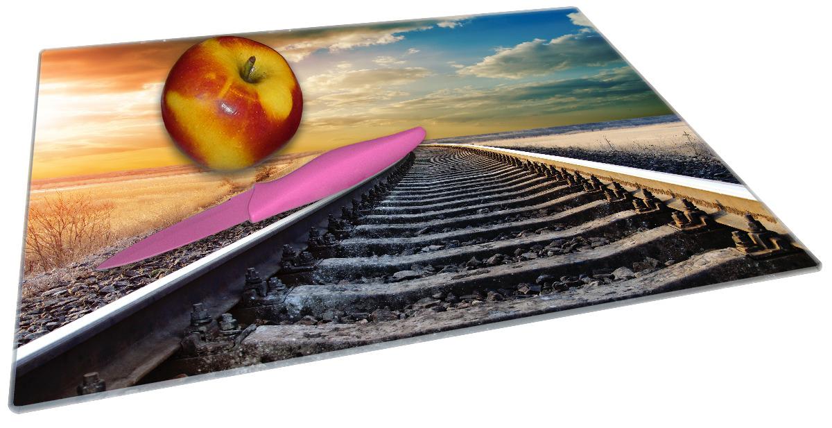 Glasunterlage Bahnschienen ins Ungewisse – Bild 2